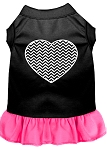 Chevron Heart Screen Print Dress Black with Bright Pink XS (8)